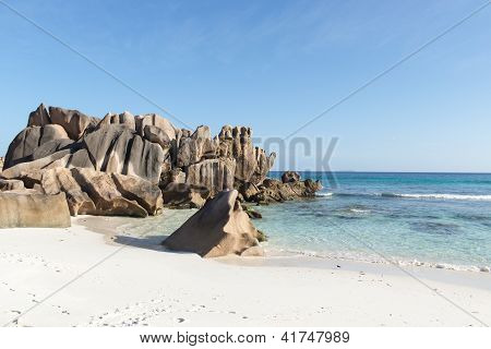 Beautiful beach of the island La Digue. Seychelles