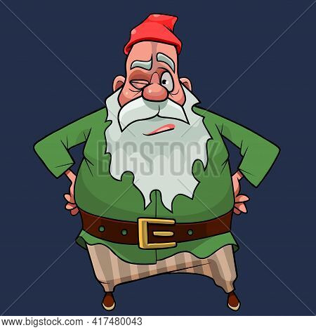 Puzzled Cartoon Bearded Gnome In A Red Cap Stands Akimbo