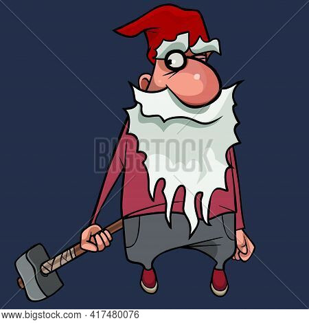 Cartoon Bearded Gnome In A Red Cap Stands With Hammer In His Hand