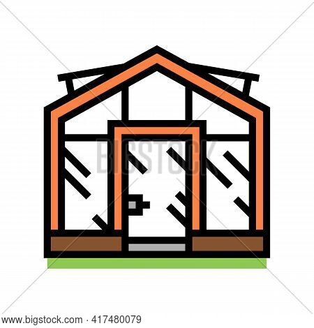 Glass Greenhouse Color Icon Vector. Glass Greenhouse Sign. Isolated Symbol Illustration