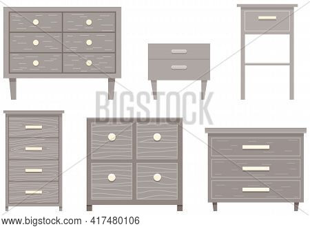Set Of Commode Illustrations On Theme Of Storage Furniture. Chests Of Drawers Vector Illustration