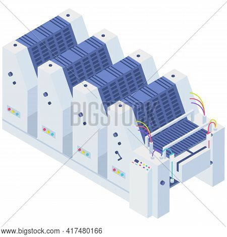 Isometric Factory Copier. Photocopier Isolated On White Background. Office Or Production Equipment