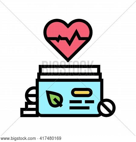 Heart Treatment Homeopathy Pills Color Icon Vector. Heart Treatment Homeopathy Pills Sign. Isolated