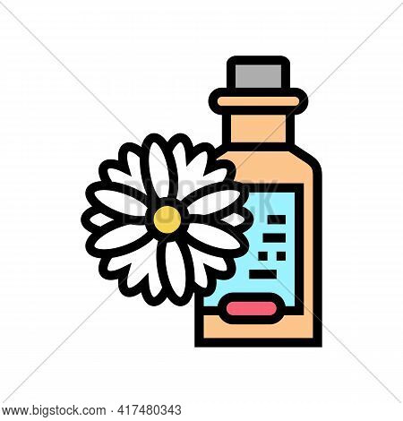 Chamomile Drink Homeopathy Liquid Color Icon Vector. Chamomile Drink Homeopathy Liquid Sign. Isolate