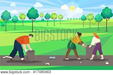 People Collect Garbage On Contaminated Area Of Country Road Polluted With Plastic And Paper Waste