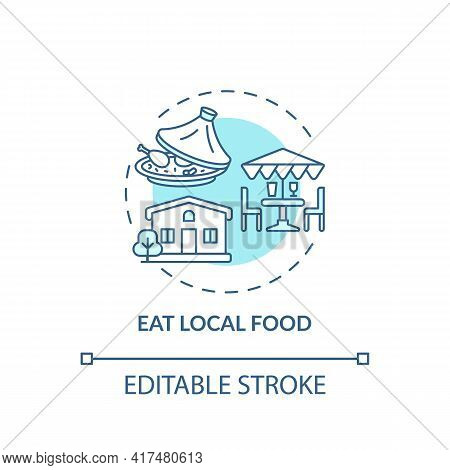 Eat Local Food Concept Icon. Sustainable Tour Tips. Food Produced Within Short Distance Of Where It