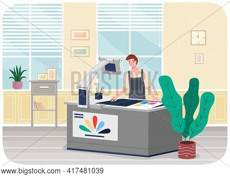 Man Working In Typography At Print To Printer. Polygraphy Employee Character, Electronic Equipment