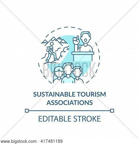 Sustainable Tourism Associations Concept Icon. Best Sustainable Tourism Practices. Places Popular Fo