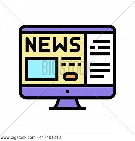 Reading News Mens Leisure Color Icon Vector. Reading News Mens Leisure Sign. Isolated Symbol Illustr