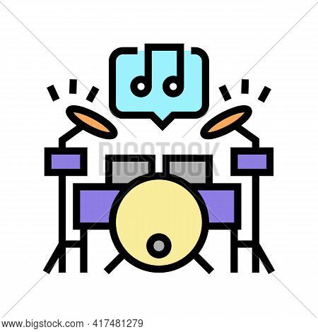 Play Musical Instrument Mens Leisure Color Icon Vector. Play Musical Instrument Mens Leisure Sign. I
