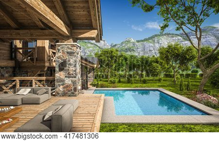3d Rendering Of Modern Cozy Chalet With Pool And Parking For Sale Or Rent. Beautiful Forest Mountain