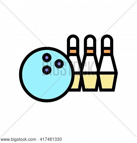 Play Bowling Mens Leisure Color Icon Vector. Play Bowling Mens Leisure Sign. Isolated Symbol Illustr