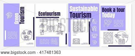 Green Tourism Brochure Template. Ecotourism Journeys. Flyer, Booklet, Leaflet Print, Cover Design Wi