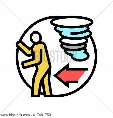 Escape From Hurricane Refugee Color Icon Vector. Escape From Hurricane Refugee Sign. Isolated Symbol