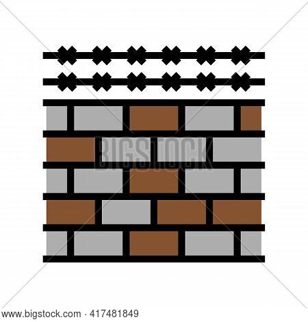 Fence With Barbed Wire Color Icon Vector. Fence With Barbed Wire Sign. Isolated Symbol Illustration