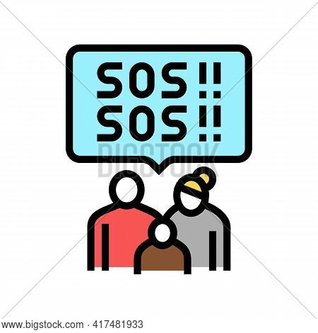 Family Refugee Sos Color Icon Vector. Family Refugee Sos Sign. Isolated Symbol Illustration