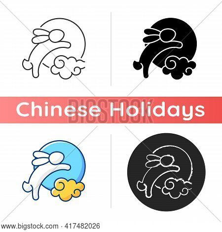 Rabbits And Moon Icon. Moon Hare. Immortal Jade Rabbit. Mid-autumn Festival. Mythical Figure. Chines