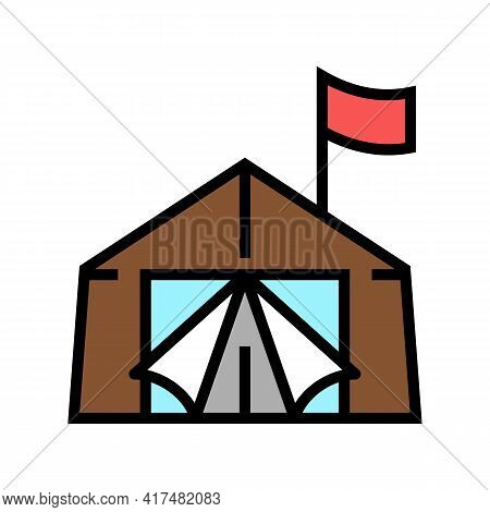 Tent Refugee Color Icon Vector. Tent Refugee Sign. Isolated Symbol Illustration