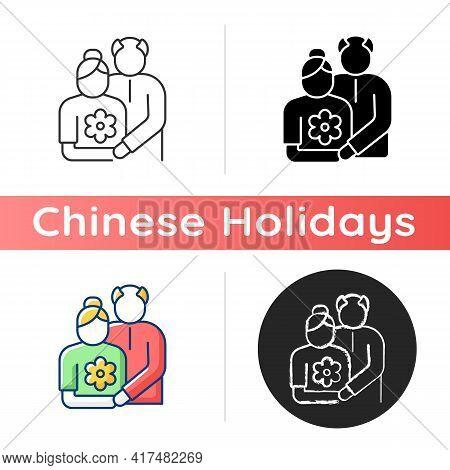 Old Couple Icon. Honor Senior Citizens Day. Double Ninth Festival. Visit Elderly Relatives. Organizi