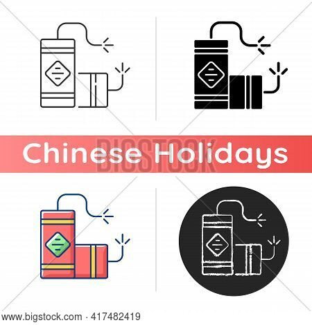 Fireworks Icon. Chinese New Year. Lighting Firecrackers. Traditional Chinese Culture. Scaring Away E