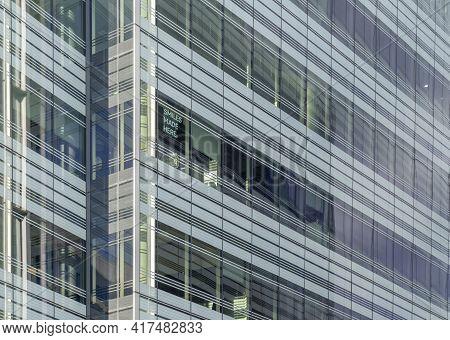 July 2020. London. Office Windows In Hammersmith, London England