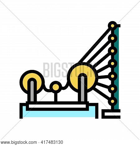 Weaving And Warping Cotton Machine Color Icon Vector. Weaving And Warping Cotton Machine Sign. Isola
