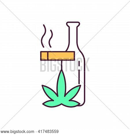 Bad Habits Rgb Color Icon. Harmful Addiction. Smoking, Alcohol And Drugs Consumption. Serious Health