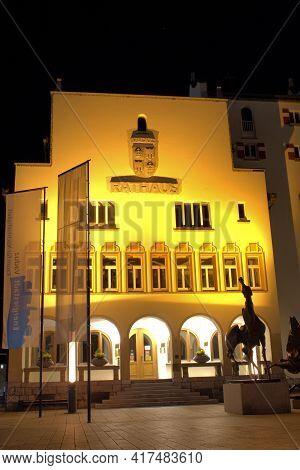 City Hall At Night Illuminated With Lights In The Center Of Vaduz In Liechtenstein 31.3.2021