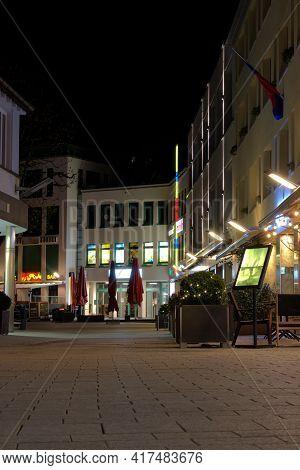 Empty Streets At Night In The Center Of Vaduz In Liechtenstein 31.3.2021