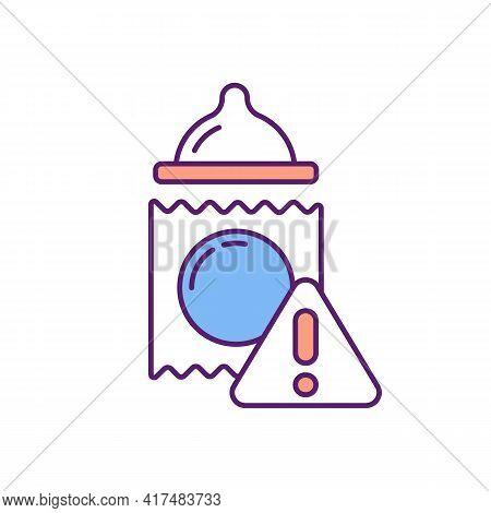 Contraceptive Condom Breakage Risk Rgb Color Icon. Pregnancy Prevention Method. Birth Control. Avoid