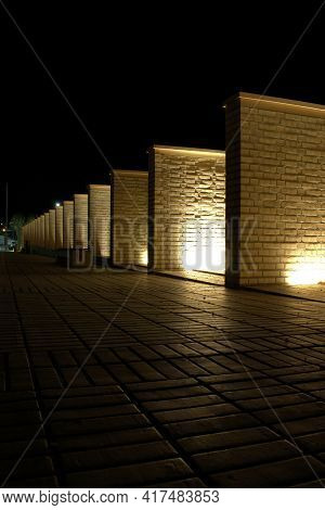 Pretty Square With Illuminated Walls At Night At The Government District In Vaduz In Liechtenstein 3