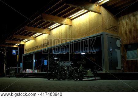 Illuminated Entrance To The Touristic Center At Night In Vaduz In Liechtenstein 31.3.2021