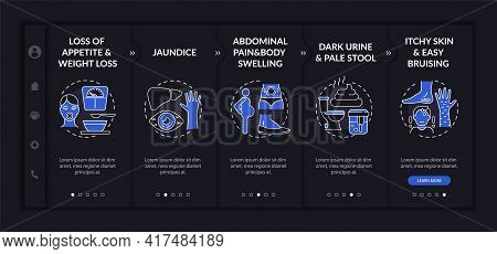 Liver Dysfunction Signals Onboarding Vector Template. Responsive Mobile Website With Icons. Web Page