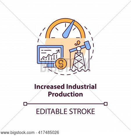 Increased Industrial Production Concept Icon. Oil Price Idea Thin Line Illustration. Industrial Outp