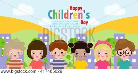 Set Group Collection Of Cute Babies Kids Characters Playing Doing Activities In Different Various Po