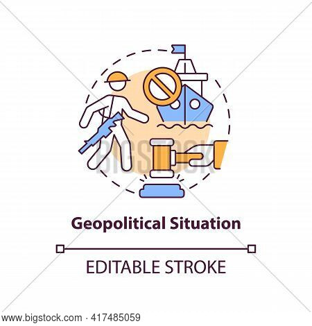 Geopolitical Situation Concept Icon. Oil Price Factor Idea Thin Line Illustration. International Pol