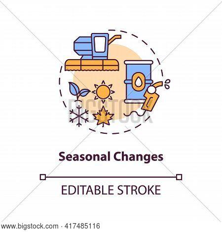 Seasonal Changes Concept Icon. Oil Price Idea Thin Line Illustration. Seasonality Effect. Rise In Ga