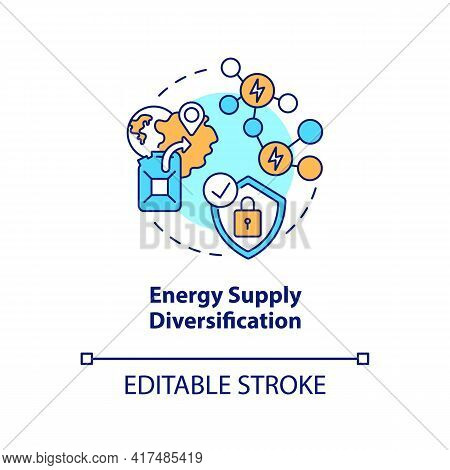 Energy Supply Diversification Concept Icon. Security Strengthening Idea Thin Line Illustration. Depe