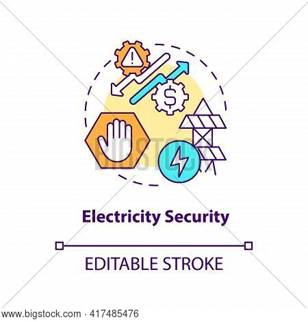 Electricity Security Concept Icon. Energy Security Type Idea Thin Line Illustration. Reliable And Ef
