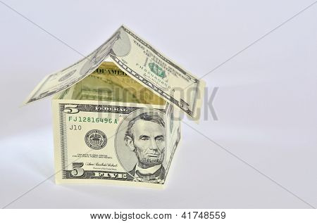 House made of american dollar banknotes