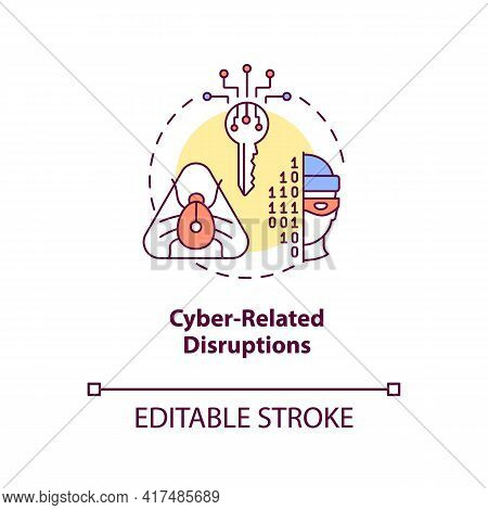 Cyber-related Disruptions Concept Icon. Energy Security Threat Idea Thin Line Illustration. Hazardou