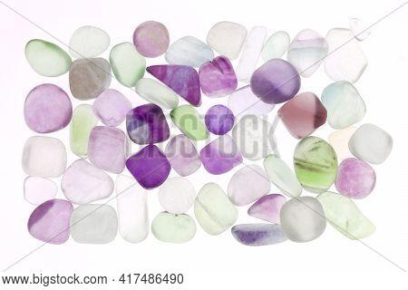 Fluorite Heap Jewel Stones Texture On White Light Isolated Background