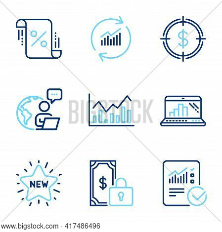 Finance Icons Set. Included Icon As Update Data, Infochart, Checked Calculation Signs. Graph Laptop,