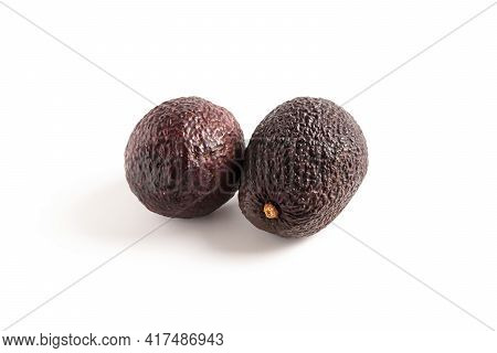 Avocado Haas Isolated, Exotic Mexican Product Set. Group Of Two Delicious Raw Tropical Avocado, Brow