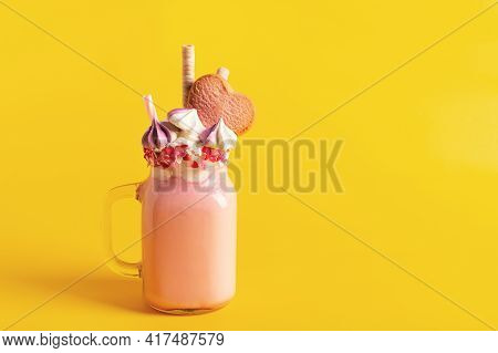 Pink Milkshake With Cream, Marshmallow Candy Hearts On Yellow Background, Mothers Day And Birthday D