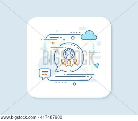 Global Business Line Icon. Abstract Square Vector Button. International Outsourcing Group Sign. Inte
