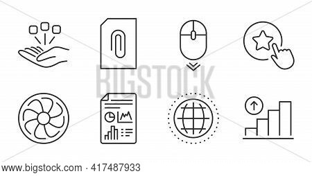 Fan Engine, Loyalty Star And Scroll Down Line Icons Set. Graph Chart, Report Document And Globe Sign