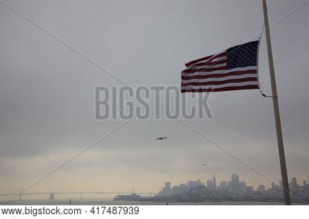 San Francisco, California / Usa - August 25, 2015: San Francisco View From Alcatraz Penitentiary, Sa
