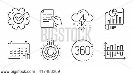 360 Degrees, Gear And Cogwheel Line Icons Set. Calendar Graph, Thunderstorm Weather And Hold Documen
