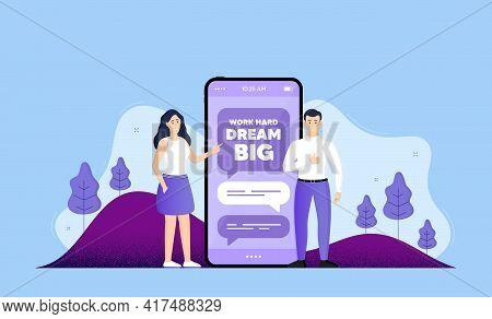 Work Hard Dream Big Motivation Quote. Phone Online Chatting Banner. Motivational Slogan. Inspiration